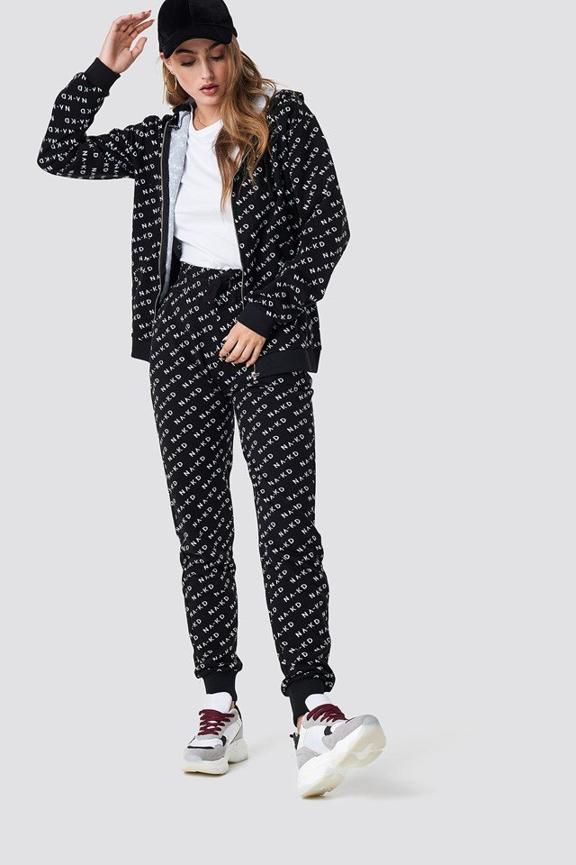 All Over Branded Sweatpants Black