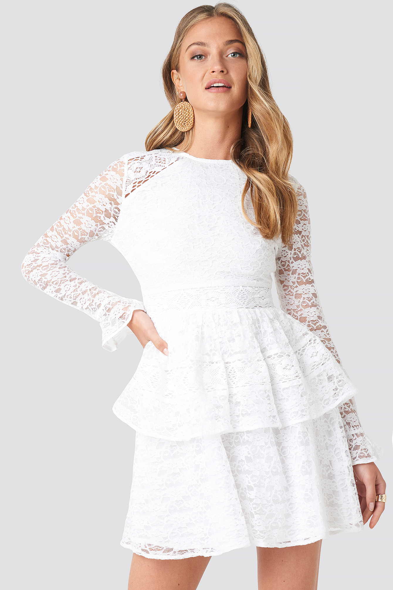 All Over Lace Midi Dress NA-KD.COM