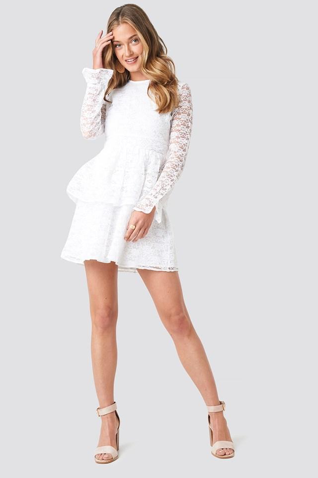 All Over Lace Midi Dress White