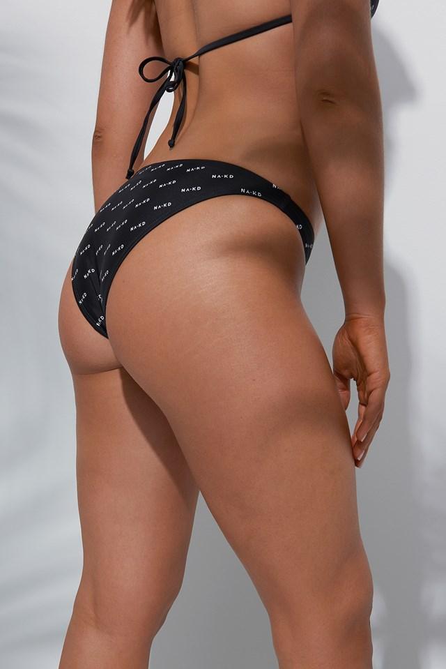 Allover Logo Bikini Bottom Black