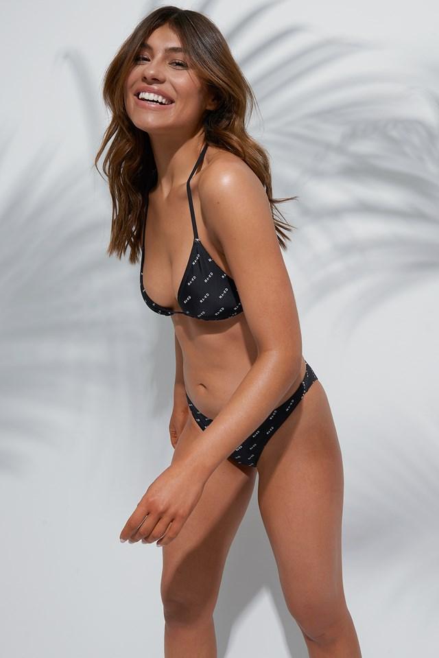 Allover Logo Triangle Bikini Top Black