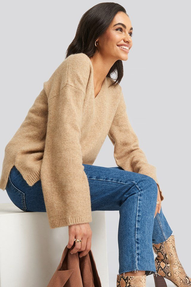 Alpaca Knitted V-Neck Sweater NA-KD Trend