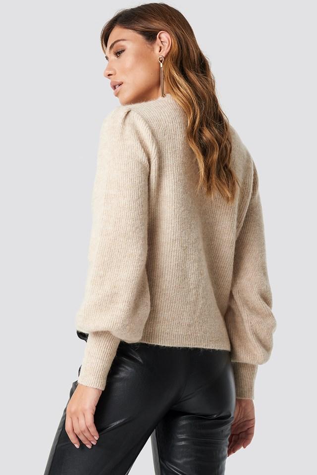 Alpaca Wool Blend Balloon Sleeve Sweater Beige