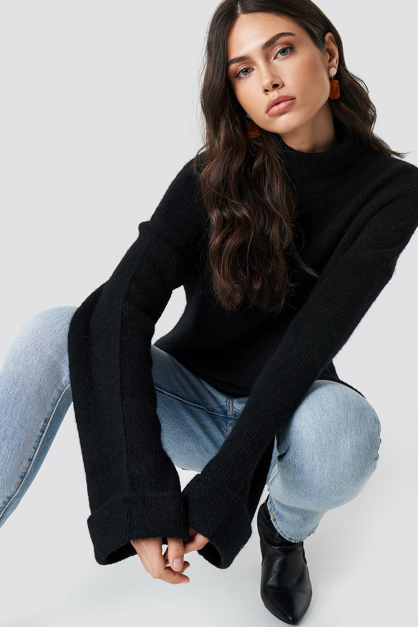 na-kd exclusive -  Alpaca Wool Blend High Neck Sweater - Black