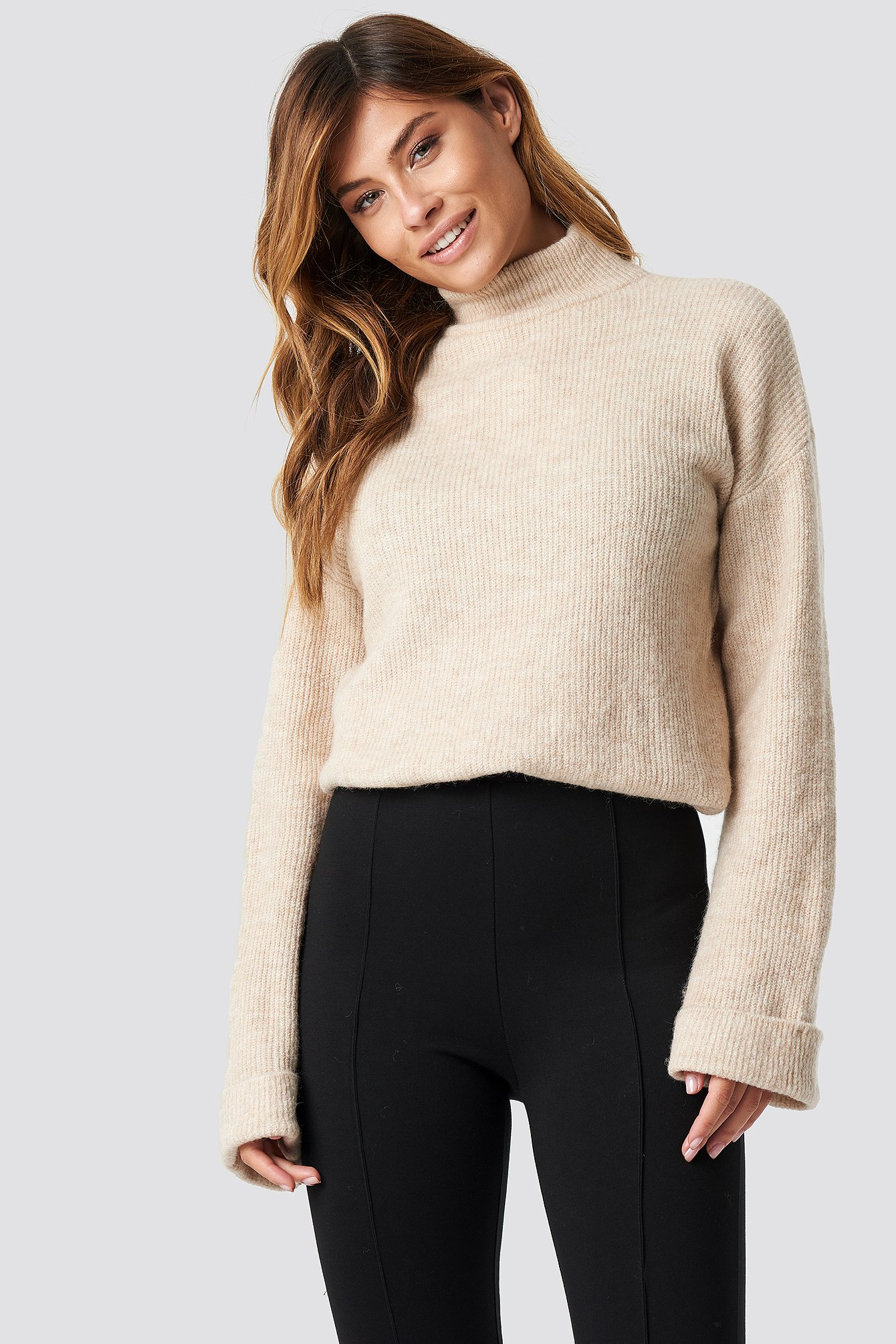 na-kd trend -  Alpaca Wool Blend High Neck Sweater - Beige