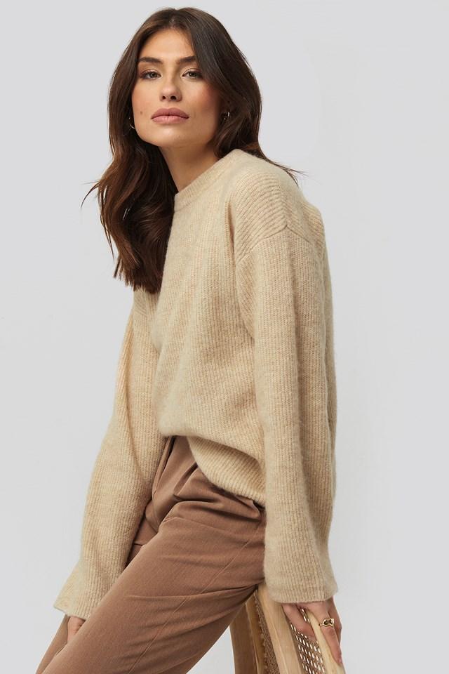 Alpaca Wool Blend Round Neck Sweater Beige