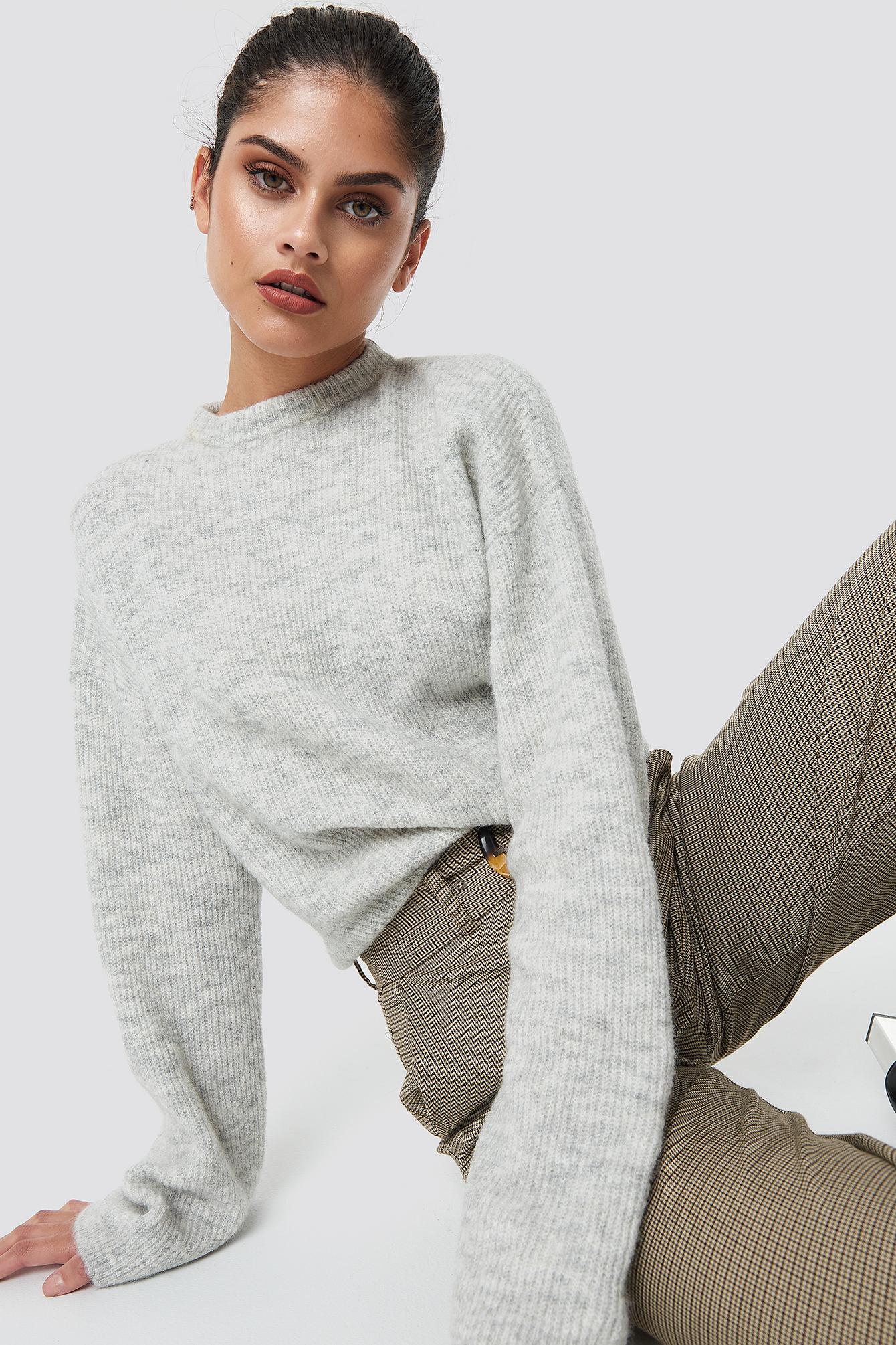 Na-Kd Alpaca Wool Blend Round Neck Sweater Grey