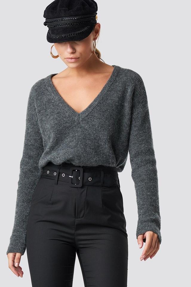 Alpaca Wool Blend V-neck Sweater Dark Grey
