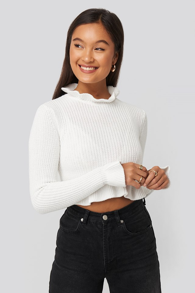 Andrea Badendyck Ruffle Knitted Top White