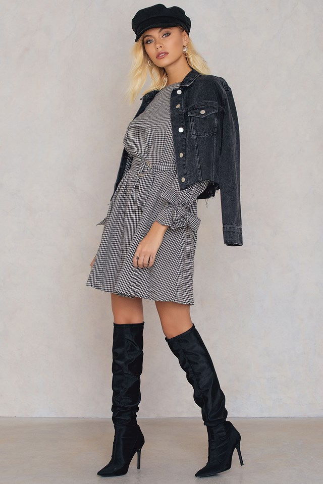 Checked Belted Dress Checked