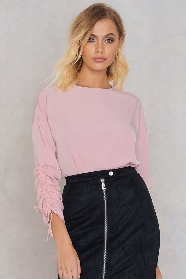 Drawstring Blouse Light Dusty Pink