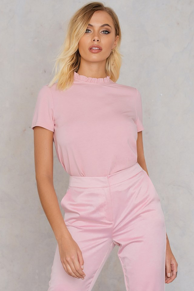 Ruffle Neck Top Light Dusty Pink