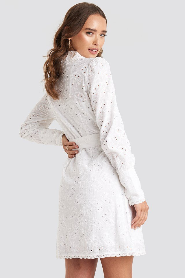 Anglaise Collar Mini Dress White