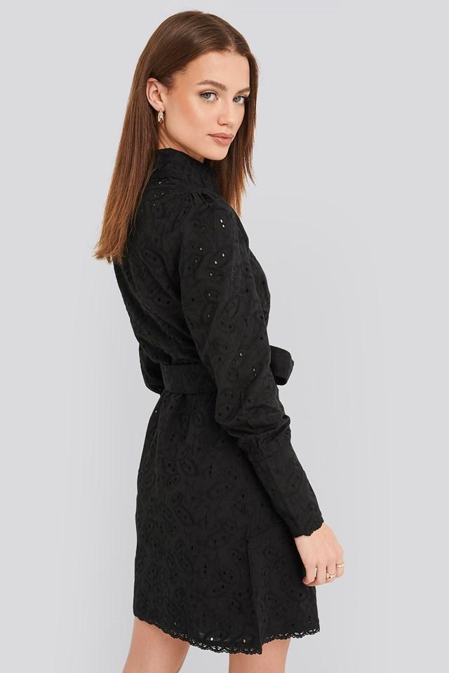 Anglaise Collar Mini Dress Black