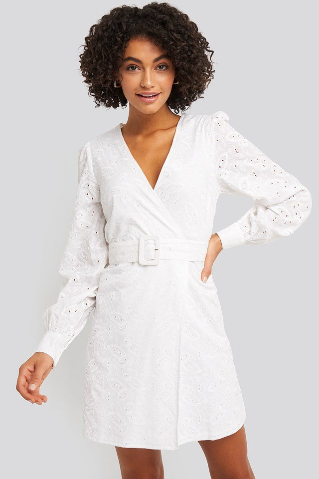 Anglaise Overlap Dress White