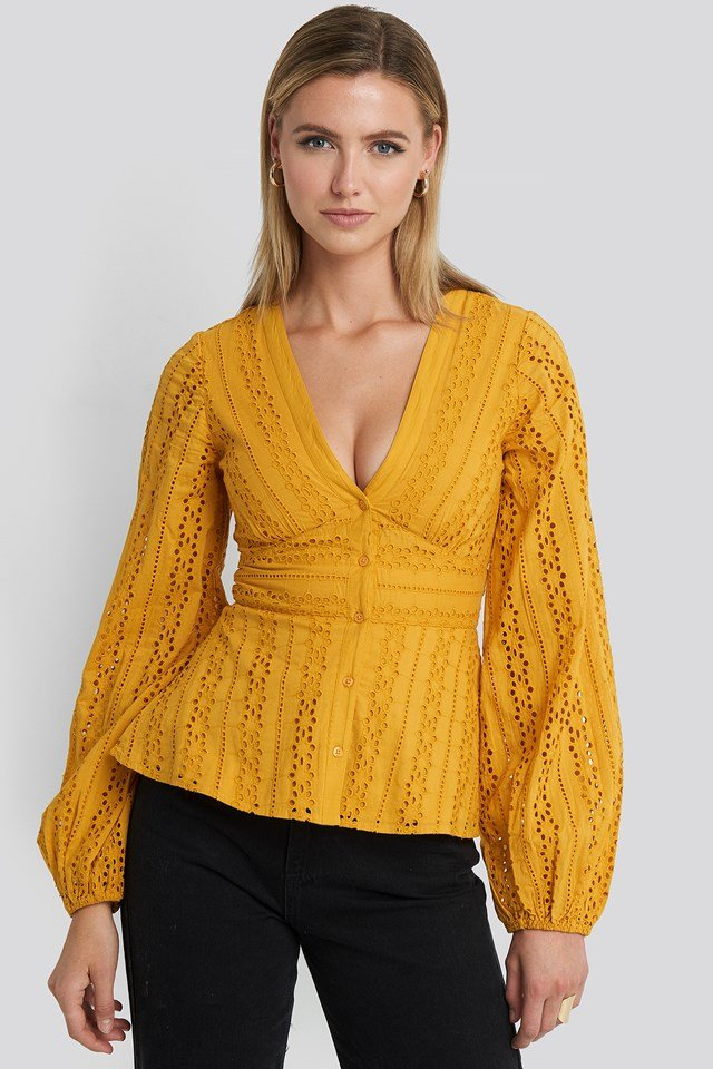 Anglaise Balloon Sleeve Blouse Mustard