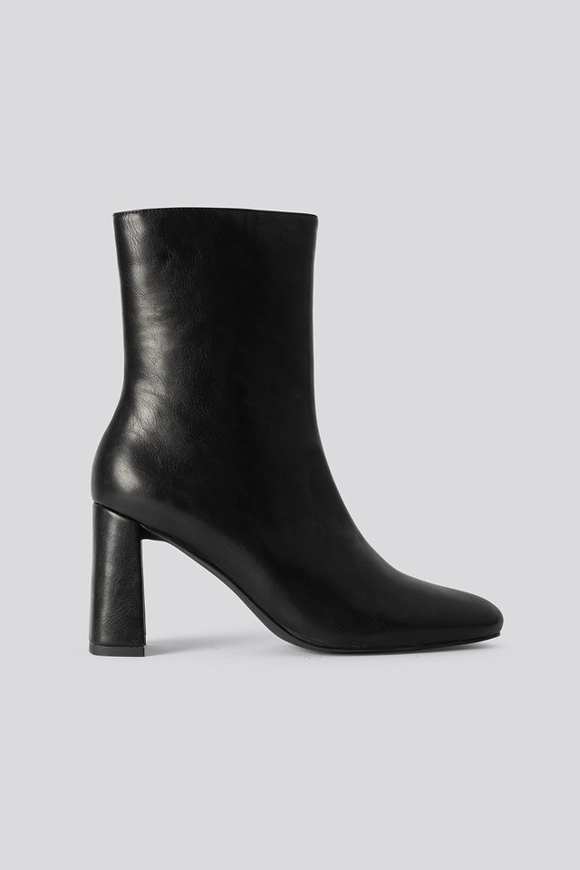 Angular Heel Booties Black