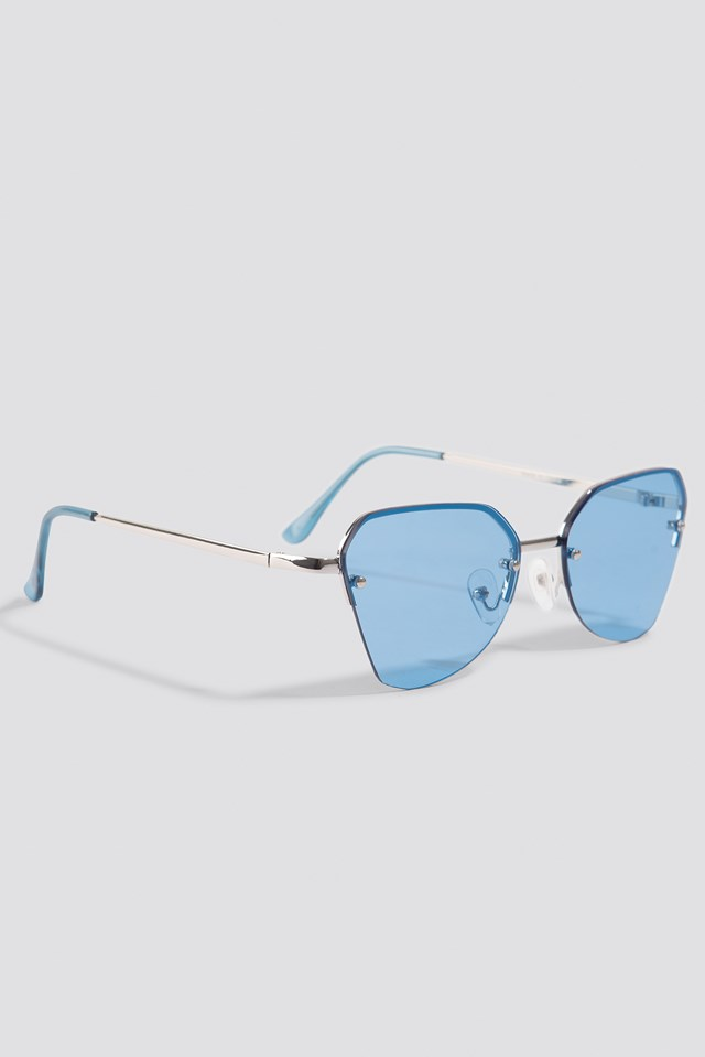 Angular Metal Cat Eye Sunglasses Blue