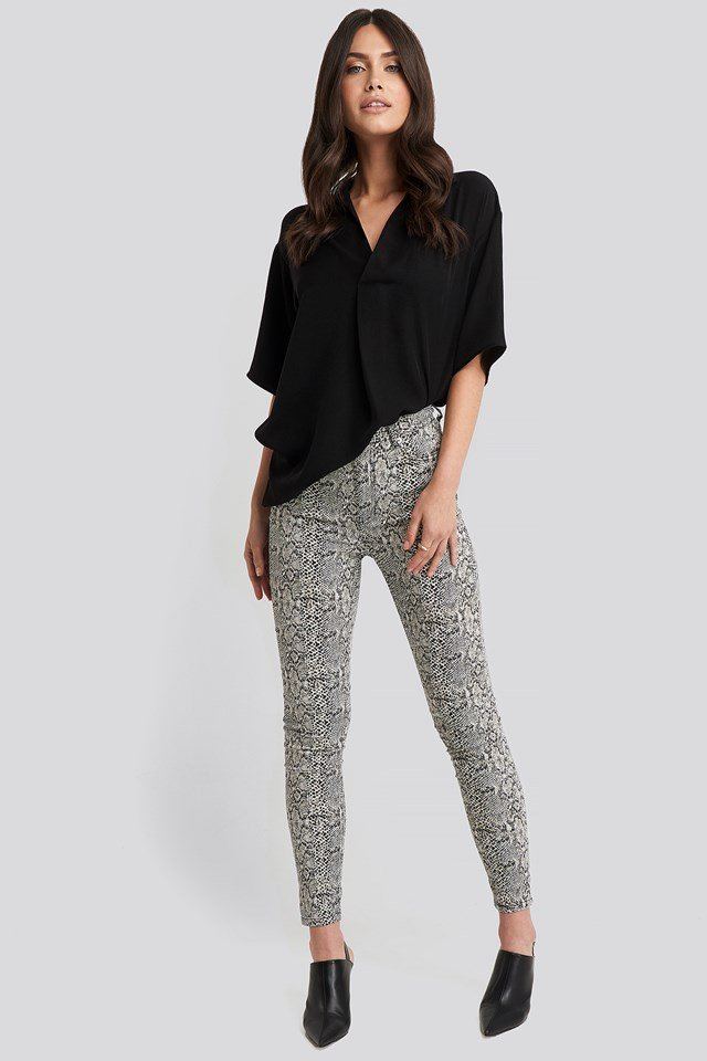 Animal Printed High Waist Jeans Snake