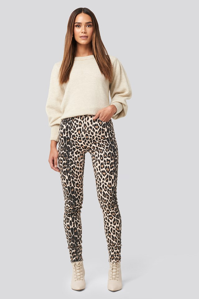 Animal Printed High Waist Jeans Leo