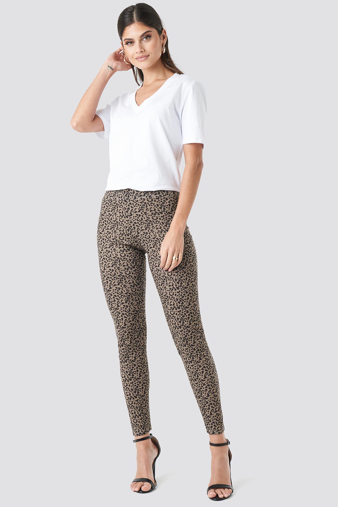 na-kd trend -  Animal Printed Leggings - Black,Brown