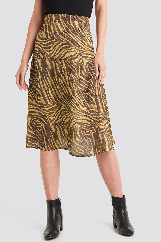 Animal Printed Midi Skirt Zebra