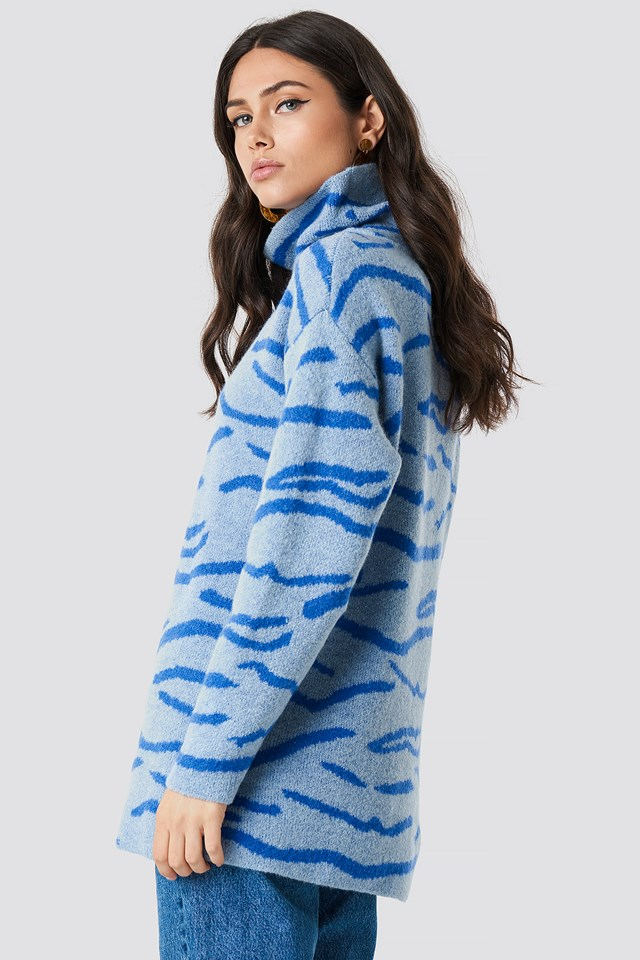 Animal Printed Tiger Sweater Blue