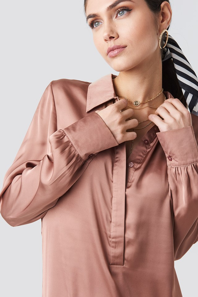 Button Detail Shirt Dress Dusty Dark Pink