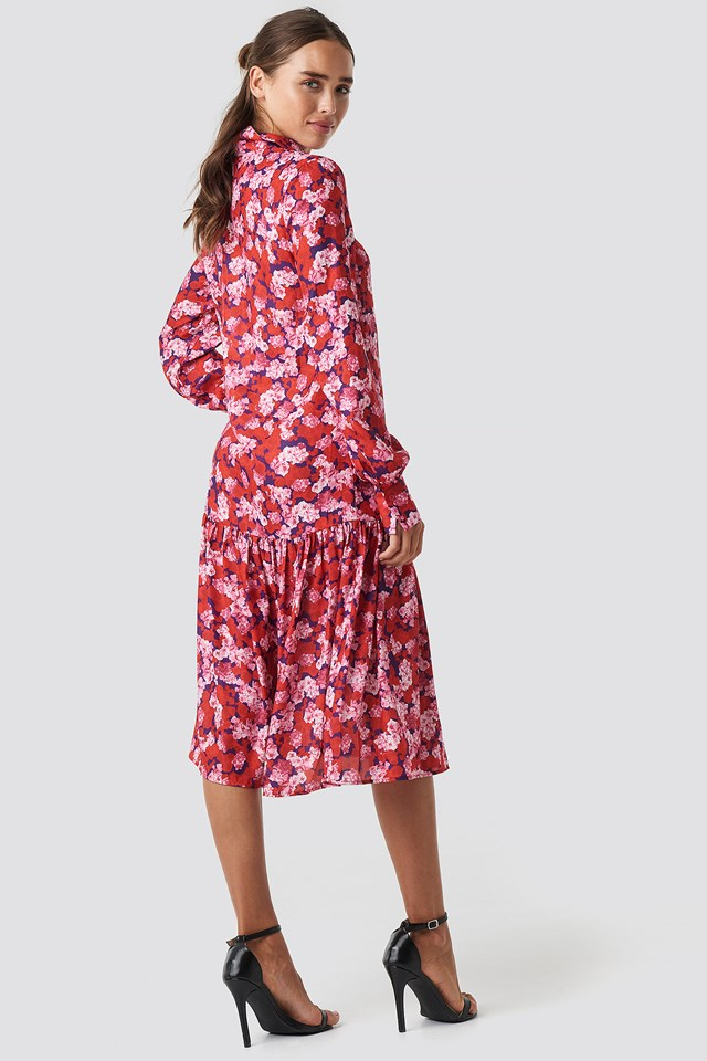 Ankle Length Printed Dress Red/Pink Hydrangea Flower