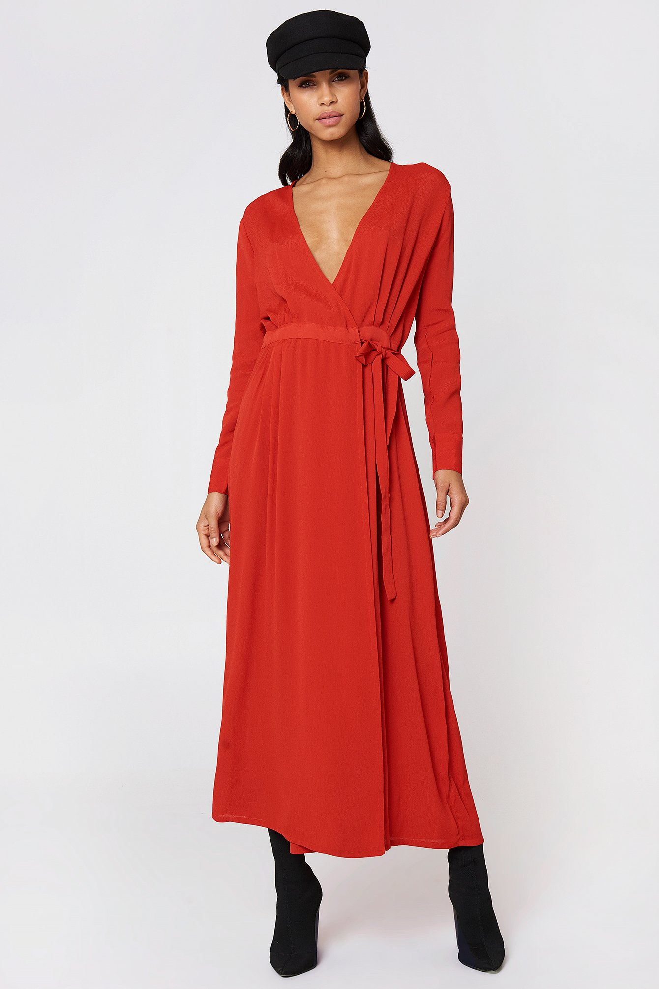 ANKLE LS DRESS - RED