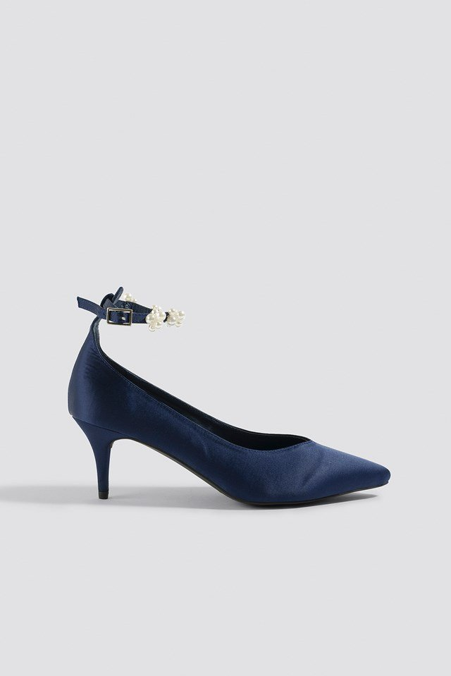 Beaded Ankle Strap Pumps Dark Blue