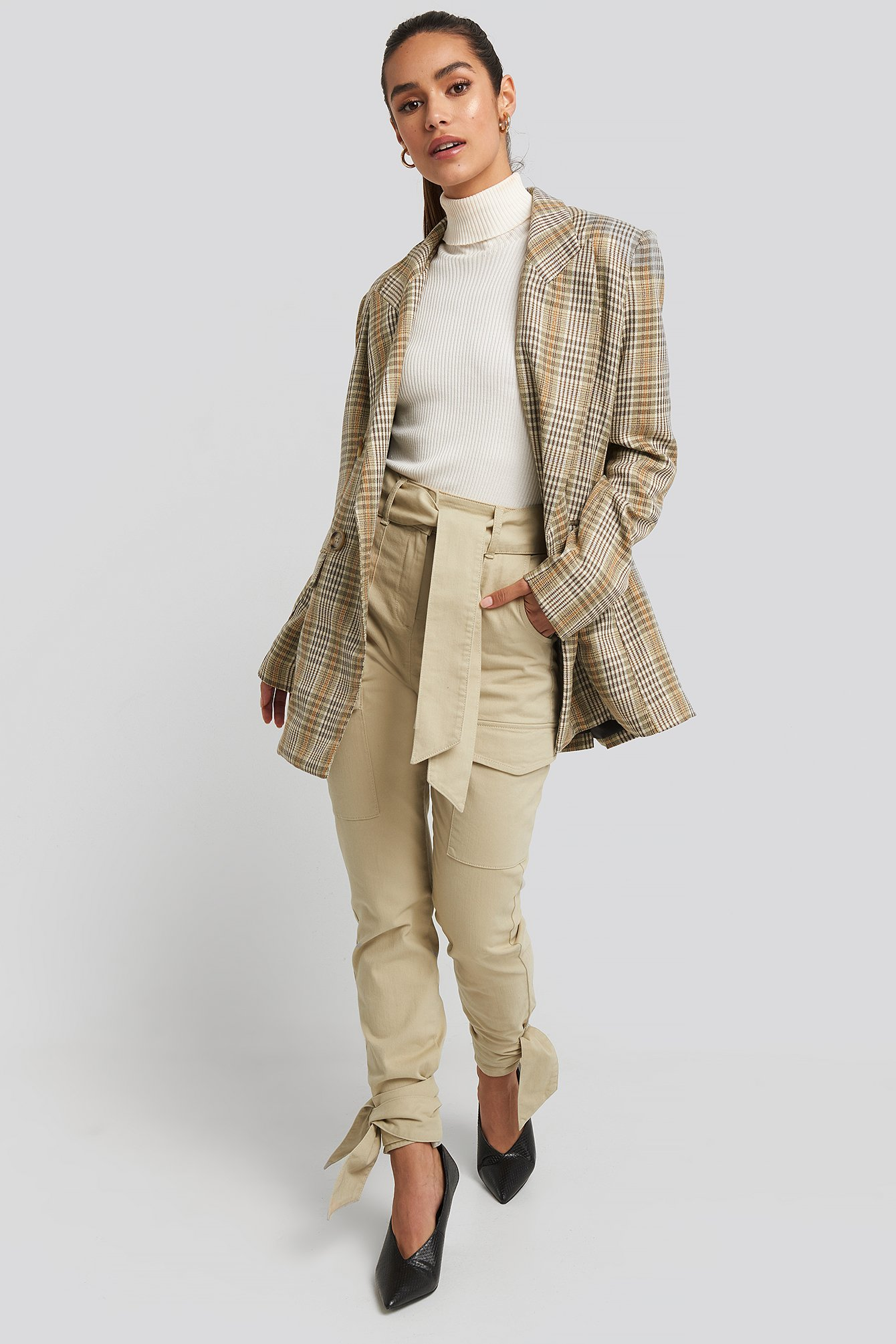 Beige Ankle Tie Cargo Slim Fit Pants