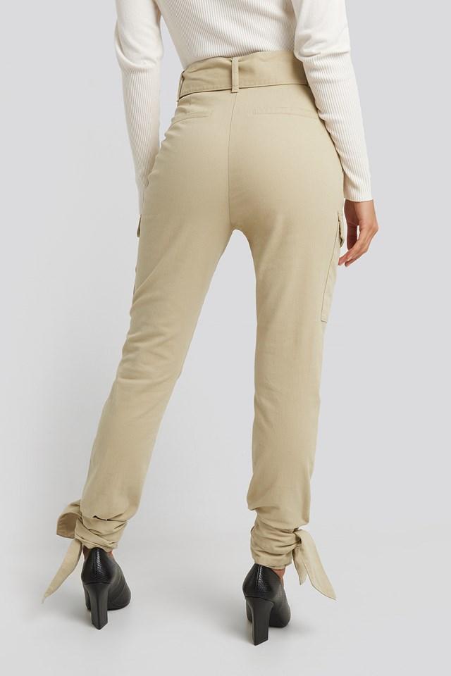 Ankle Tie Cargo Slim Fit Pants Beige