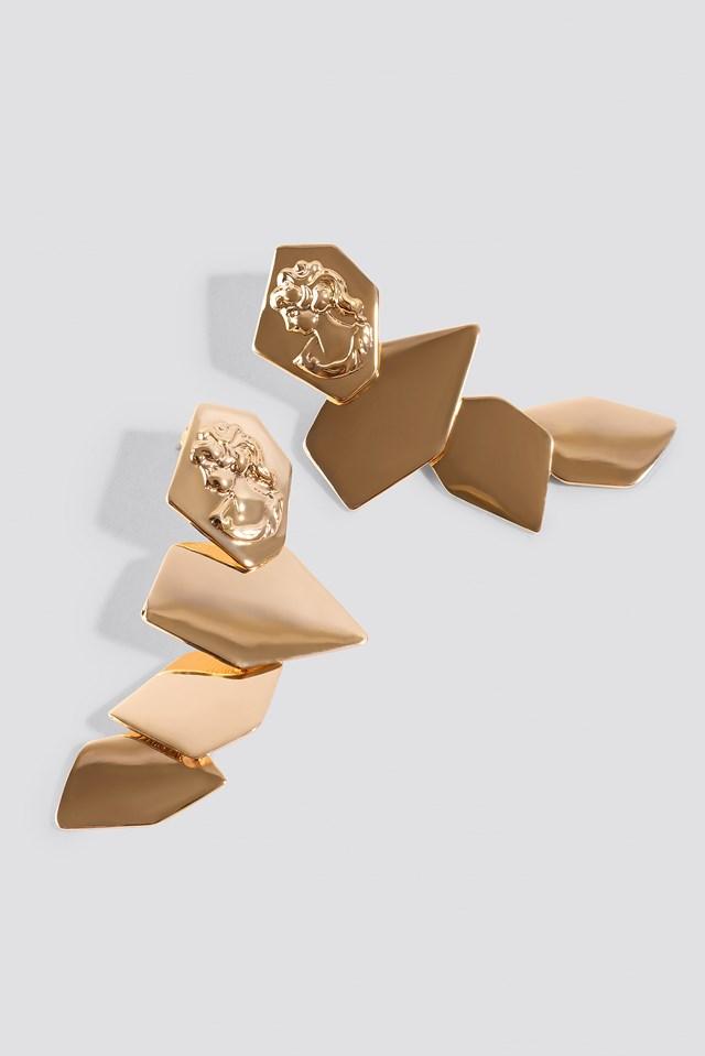 Antique Face Square Drop Earrings Gold