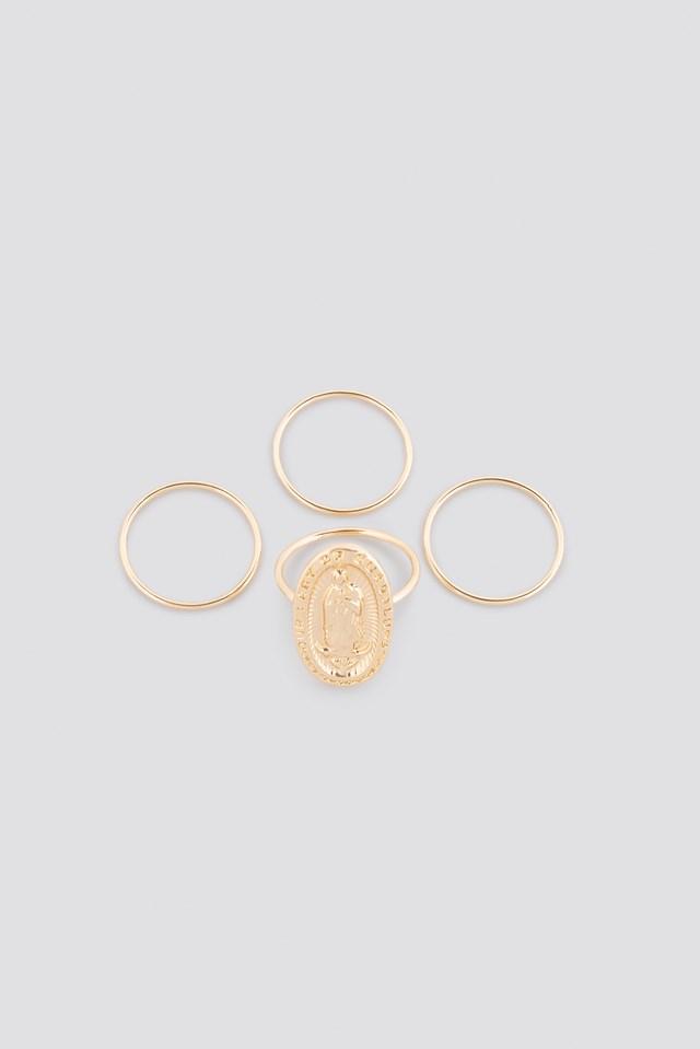 Antique Look Signet Ring Set Gold