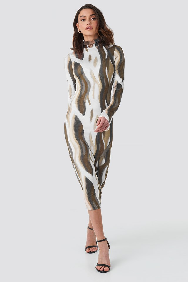 AOP High Neck Jersey Dress Print