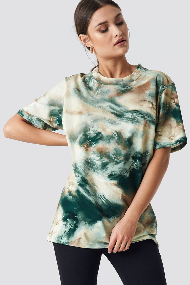 Aquarelle Printed Unisex Tee Green