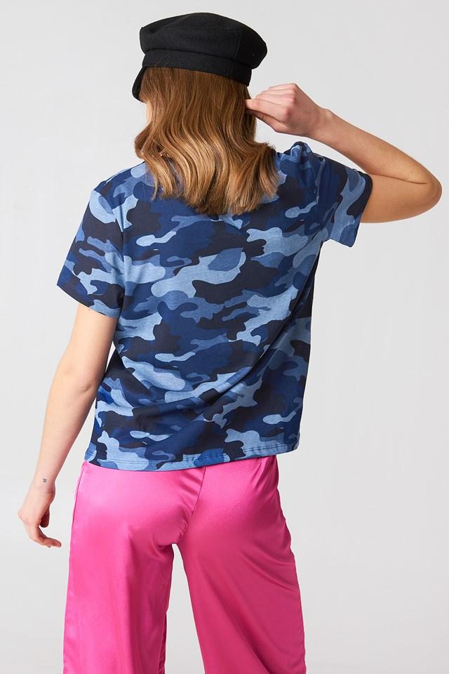 Army V-neck Tee Blue