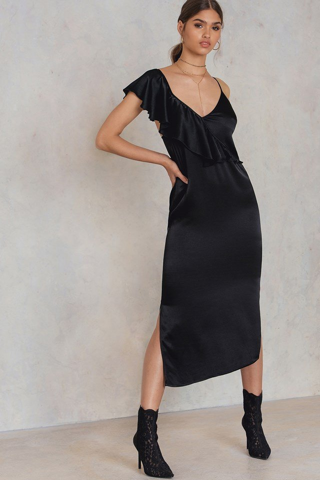Asymmetric Frill Midi Slip Dress Black