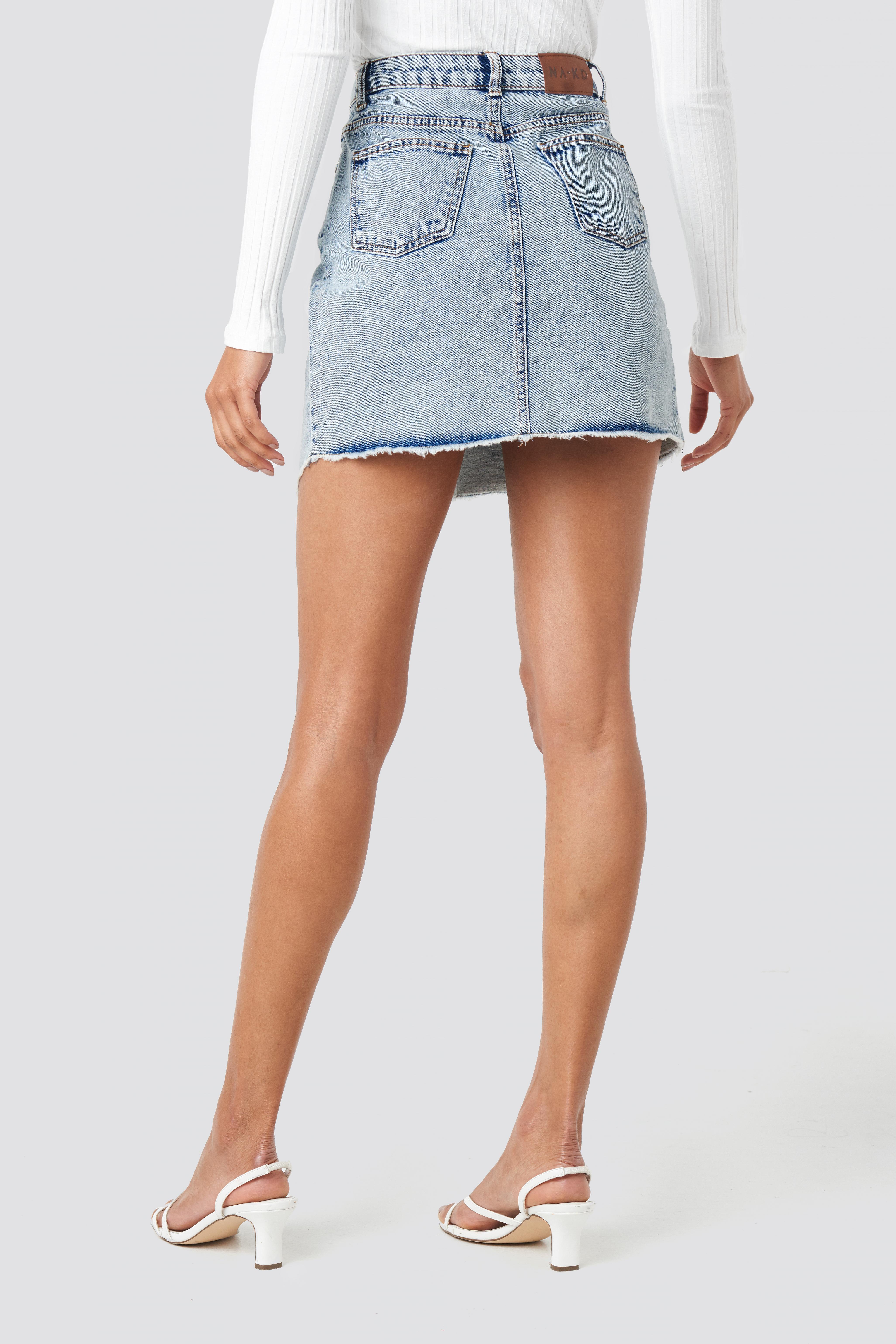 Assymetric Closure Denim Skirt NA-KD.COM