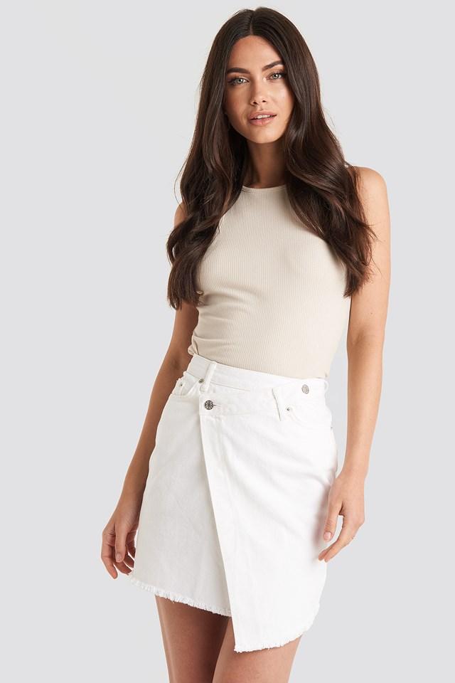 Assymetric Closure Denim Skirt White