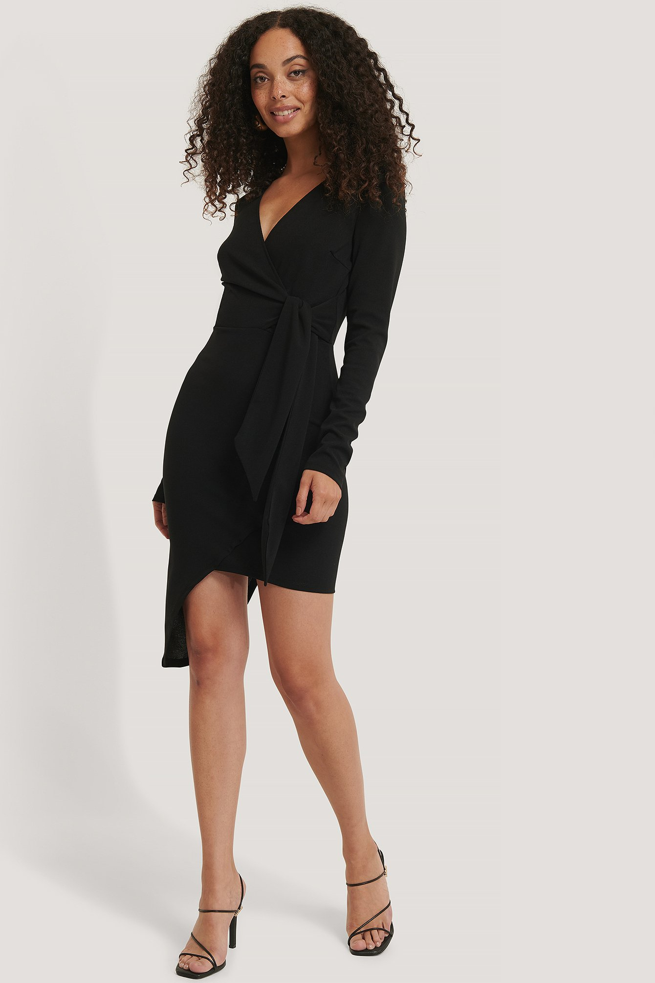 Black Asymmetric Hem Mini Dress