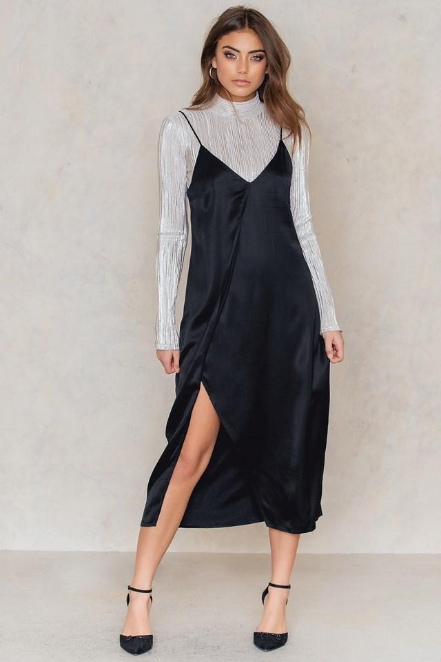Asymmetric Slit Slip Dress Black