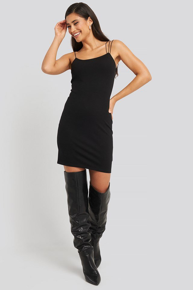 Assymetric Spaghetti Strap Dress Black