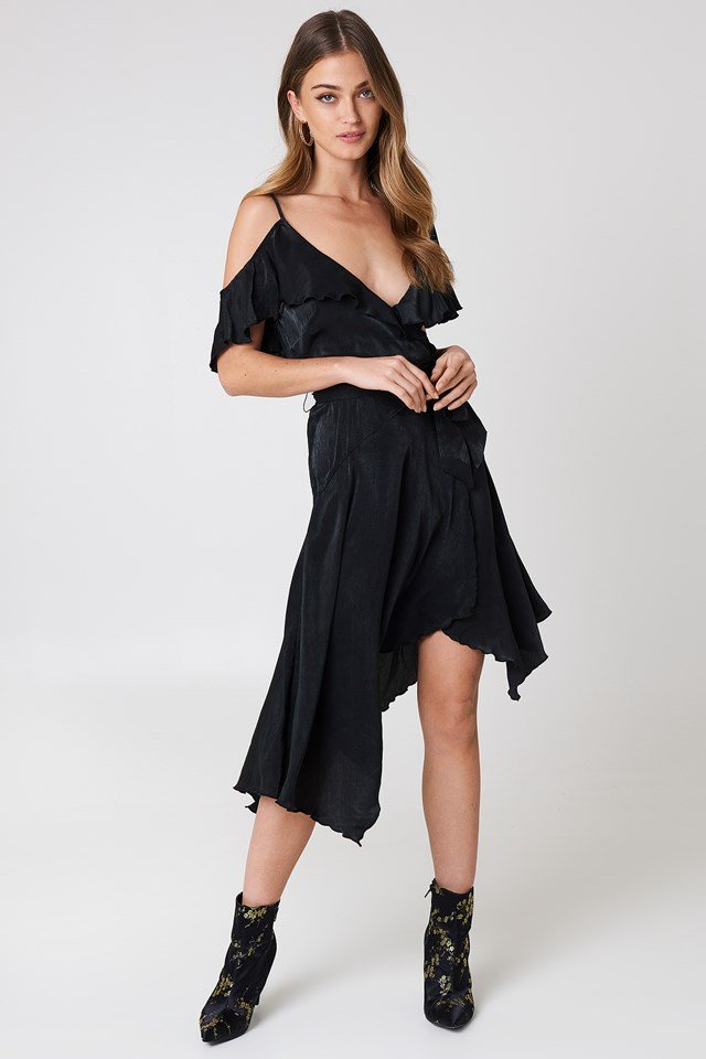 Asymmetric Wrap Frill Dress NA-KD Party