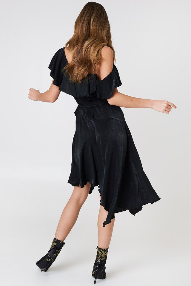 Asymmetric Wrap Frill Dress Black