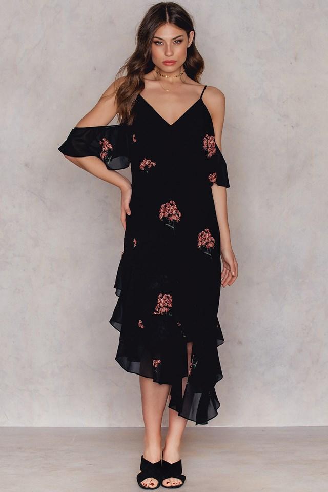 Asymetryczna sukienka z warstwową falbanką Black/Flower Print