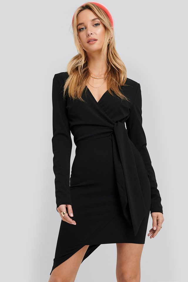 Asymmetric Hem Mini Dress Black