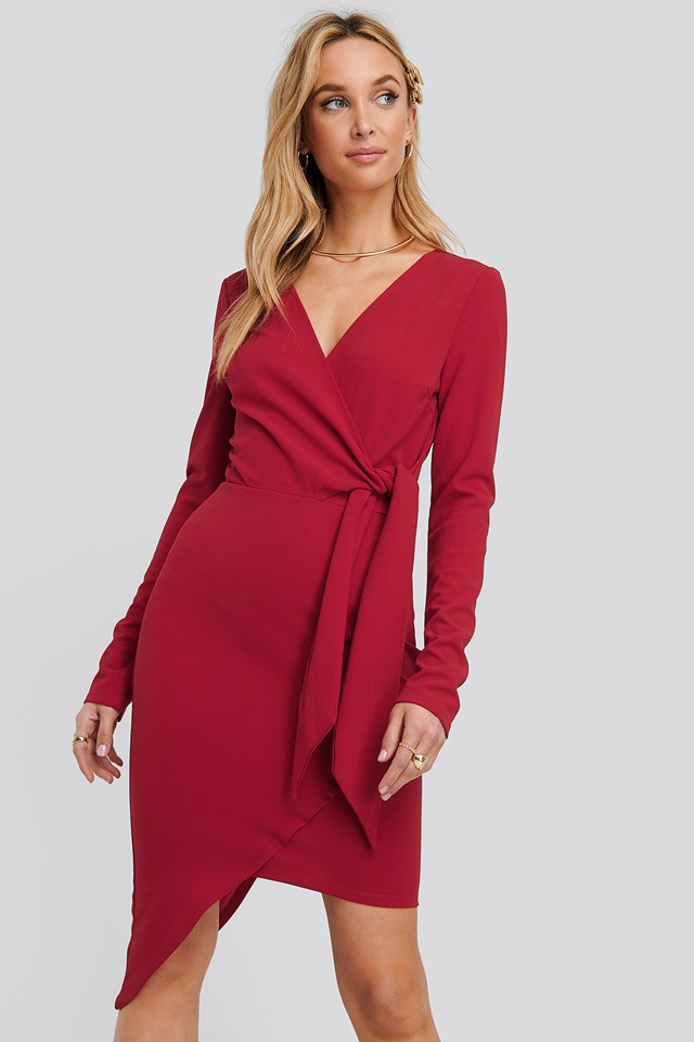 Asymmetric Hem Mini Dress Red