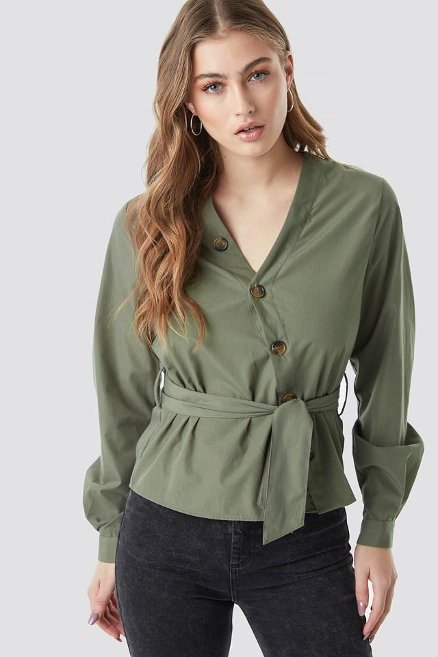 Asymmetric Buttoned Blouse Khaki Green